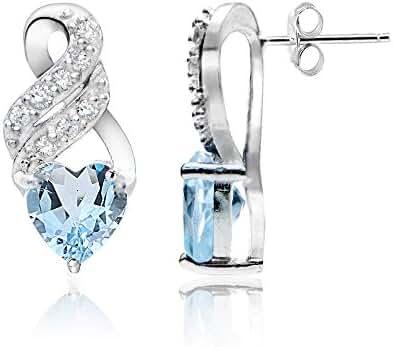 Sterling Silver Choice of Gemstone & White Topaz Heart Double Twist Earrings