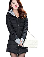 BOZEVON Women Winter Coat - Warm Slim Hooded Down Padded Long Jacket Coat, Ladies Parka Outwear