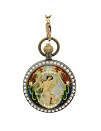 Timeconcept Classical Pearl Archaize Mechanical 100% Copper Hand Wind Pocket Watch Painting