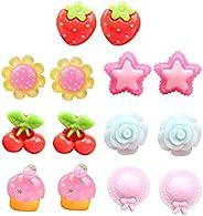 Toyvian Kids Clip On Earrings Girls Ear Clips Earrings Dress-up Jewelry Toy Gift 7 Pairs