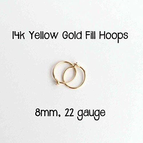8mm Hoop Earrings 14k Yellow Gold Fill Hoops 22 gauge Handmade