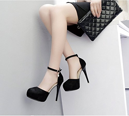 GTVERNH-Im Frühling Und Sommer Schwarze 8.5Cm Schuhe High Heels Diamond Schnalle Seite Luft Baotou Taiwan Alle Treffer Wasserdicht Sandalen Schuhe