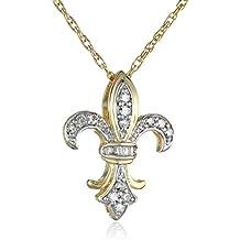 "18k Yellow Gold Plated Sterling Silver Diamond Fleur-de-Lis Pendant Necklace (1/4 cttw, I-J Color, I3 Clarity), 18"""