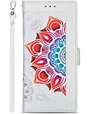 Miagon PU Leather Flip Case for Samsung Galaxy A31,Wallet Cover Flower Design Full Body Protection Bumper with Stand Credit Card Holders Hand Strap,White