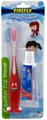 Dr. Fresh Dr. Fresh Smiley Gripper Toothbrush with Kid's Crest Toothpaste -1 set (Color Varies)