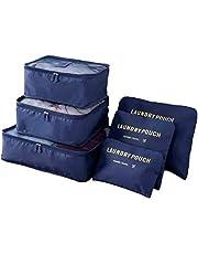 Organizador De Mala Bolsa Kit 6 Peças Para Viagem (Azul-Escuro)