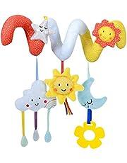 Newborn Baby Crib Stroller Toy, Cartoon Stars and Moon Pram Crib Ornament Hangings Toys, Plush Spiral Activity Toy Baby Gift