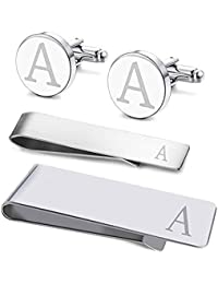 4aa1ebe25649 4PC Cufflinks Tie Bar Money Clip Button Shirt Personalized Initials  Alphabet A-Z Gift Set