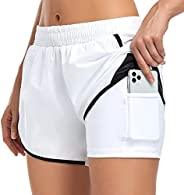 Byoauo Women Running Shorts with Pockets 2 in 1 Athletic Shorts