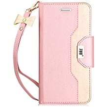Samsung Galaxy S7 Case, FYY Premium PU Leather Wallet Case with Cosmetic Mirror and Bow-knot Strap for Samsung Galaxy S7 Rose Gold+Gold