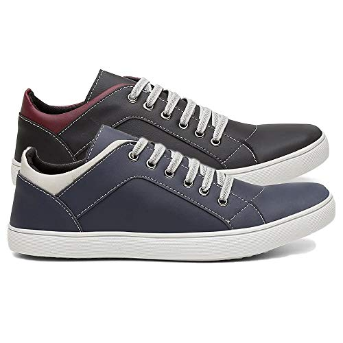 Kit 2 Pares Tênis Sapatênis Casual Masculino Conforto Sapato Macio Cor:Preto e Azul;Tamanho:40
