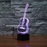 SHUYY Guitar 3D Lamp Night Light 7 Color Changing