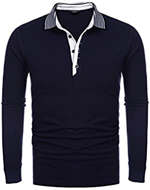 Men's Short Sleeve Polo Shirt, Long Sleeve Casual Striped Collar Classic Fit Cotton T Shirts