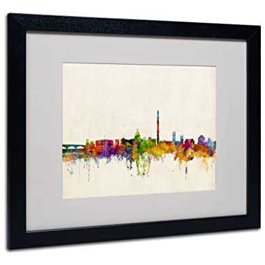 Trademark Fine Art Washington DC Skyline Artwork by Michael Tompsett, Black Frame