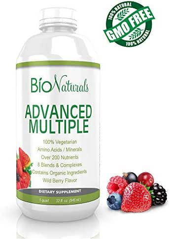 Bio Naturals Liquid Multivitamin for Men & Women with 200+ Nutrients - Vitamins A B C D3 E, CoQ10, Antioxidants, Minerals & Organic Extracts - 100% Vegetarian Whole Food Daily Supplement - 32 fl oz