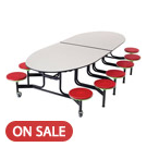 Amtab Mobile Stool Table W/ Oval Top - Mse610 | Cafeteria Tables | Worthington Direct