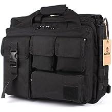 "GES Multifunction Mens Outdoor Tactical Nylon Shoulder Laptop Messenger Bag Briefcase Handbags Large Enough for 15.6"" Laptop/Camera/iPad (Black)"