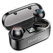 #LightningDeal ZEAKOC True Wireless Earbuds Stereo Bluetooth 5.0 Headphones with Qualcomm CSR APTX Chipset CVC8.0 Noise Cancelling in-Ear Earphones IPX5 Waterproof 40H Playtime Sports Earpiece with Charging Case