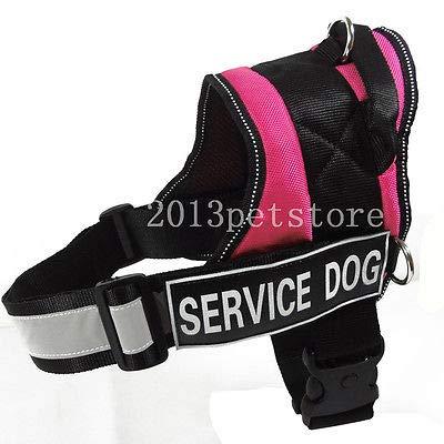 FidgetGear New Service Dog Harness Large Safe Soft Nylon pet Bull Pitbull Boxer Vest Hot Pink L