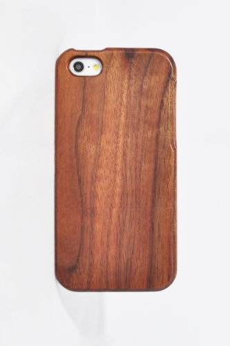 Unique Handmade Natural Wood Wooden Hard bamboo Case Cover for iPhone 5 with free screen protector(walnut)