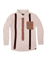Mini Shatsu Tweed Tie and Suspenders Button Down Baby Shirt