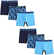 "Layer 8 Mens 5"" Inseam Long Line Performance Tagless Boxer Briefs Underwear, 6 Pack Boxer B"