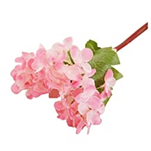 SODIAL(R) 10pcs Artificial Craft Hydrangea Bouquet Home Wedding Fake Bridal Silk Flowers pink