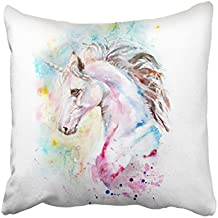 Emvency Decorative Throw Pillow Cover Square Size 16x16 Inches Watercolor Portrait Blue Unicorn Colorful Pillowcase With Hidden Zipper Decor Cushion Gift For Holiday Sofa Bed