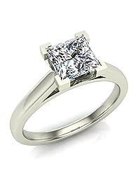 Princess Cut Diamond Engagement Ring 14K Gold 3/4 ctw (G,I1) Premium Quality