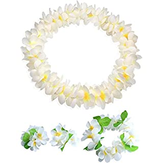 CISMARK Hawaiian Flower Leis Jumbo Necklace Bracelets Headband Set White