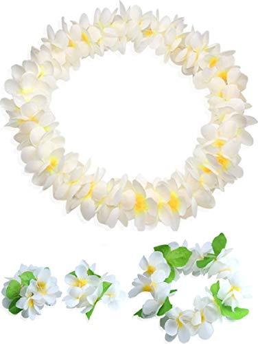 CISMARK Hawaiian Flower Leis Jumbo Necklace Bracelets Headband Set White