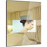 MOOWIM 18.5 inch Mirror TV Glass Wall Mount Smart LED Televesion Android 5.1 OS, with Remote Control ( 18.5 inch LCD TV Screen, Mirror Size W600 x H800 mm)