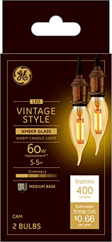 GE Lighting 36553 Amber Glass Light Bulb Dimmable LED Vintage Style Decorative 5.5 (60-Watt Replacement), 400-Lumen Medium Base Bent Tip, 2-Pack, Warm Candle