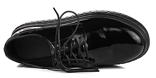 Femme Rond Epais Bout Baskets Mode Talon Aisun Noir Plateau Tw4741
