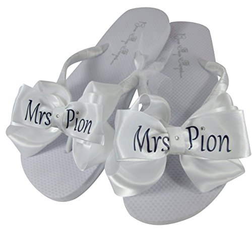 55b444e913b27 hot sale Customizable Bridal Flip Flops in Flat White Sandals and Bows with Mrs  Last Name