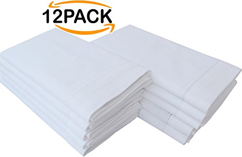 Linen Clubs 100% Cotton slub Cloth Dinner Napkin, Hemstitched, White,set of 12, Size 16 x 16 inch by Linen Clubs