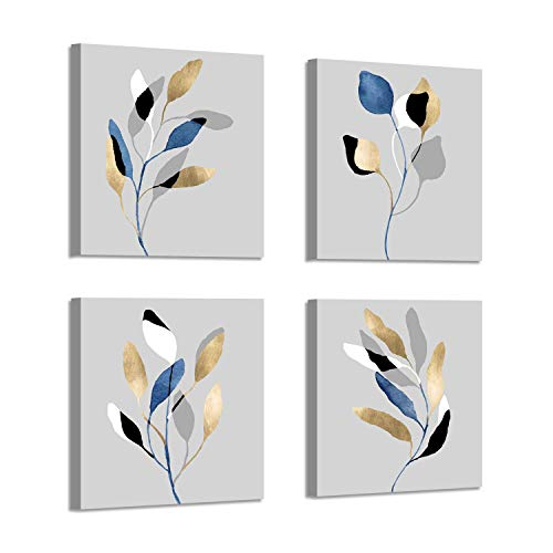 - Botanical Leaf Prints Wall Art: Branch with Golden Leaves Pictures Paintings on Canvas Artwork for Dinning Room (12'' X 12'' x 4 Panels)