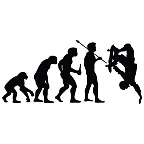 Hitada - 20.8x9.5CM Evolution Of Skateboarding Car Stickers Personalized Motorcycle Vinyl Decals Black/Silver C7-0126
