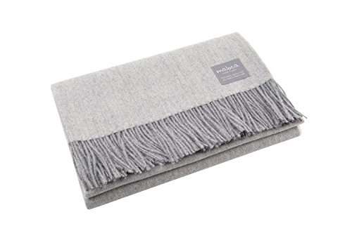 Maloca Alpaca Lightweight Throw Blanket-100% Baby Alpaca Wool Herringbone Weave - Ethically Sourced | Hypoallergenic | Softer & Warmer Then Wool | Very Limited Production (Light Grey) ()