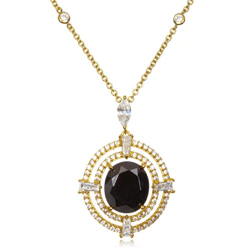 Gold Plated Silver Oval Black CZ Framed Pendant 20