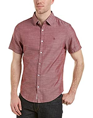 Mens Herringbone Heritage Slim Fit Woven Shirt, M, Red