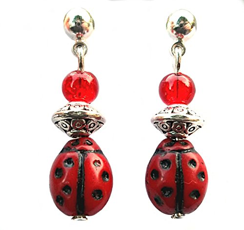 Ladybug Handcrafted Beaded Earrings Red and Silver Dangling (Glass Beaded Ladybug)