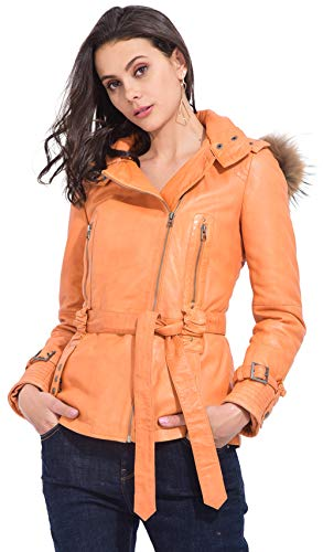- Coat Spirit Trench Leather Lamb Winter Collection Women Orange
