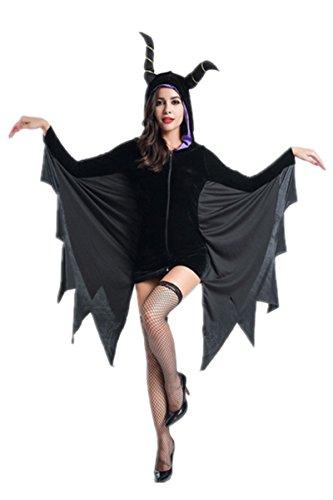 Women Bodysuit Horns Batman Cloak Costume Cosplay Halloween Party Fancy Dress Masquerade Cloak Coat (Batman Catwoman Cosplay Costume)