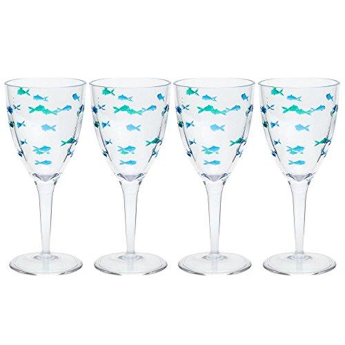 Nantucket Home Blue Green Fish Acrylic Wine Glasses, Set of 4