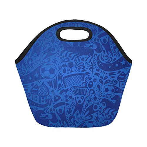 - Insulated Neoprene Lunch Bag Logo Soccer Cup On Large Size Reusable Thermal Thick Lunch Tote Bags Lunch Boxes For Outdoor Work Office School