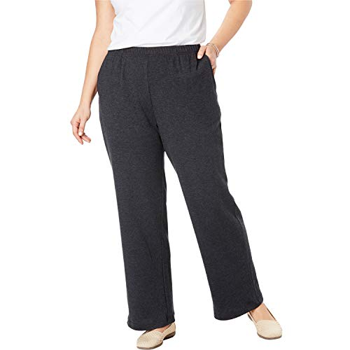 (Woman Within Women's Plus Size 7-Day Knit Wide Leg Pant - Heather Charcoal, 5X)