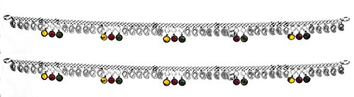 Sterling Anklets with Paisleys (Price Per Pair) - Sterling Silver by Exotic India