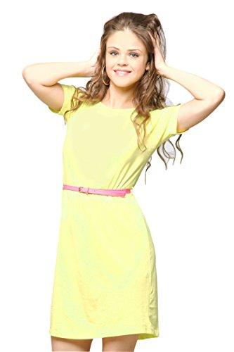 Dress Yellow Neon (Miss Chase Women's Yellow Cotton Round Neck Short Sleeve Mini Shift Dress,Neon)