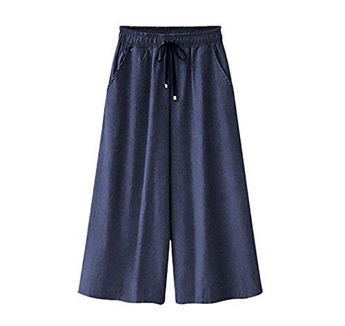Haute À Bleu Pantalon Femmes Été Poches Droit Angle Moderne Devant Cordon Mode Élégant Taille Grand Foncé Printemps Décontracté La Élastiqué UwUES6q